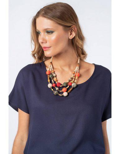 Blusa verano blanca o azul manga corta y cordones ajustable en cintura Malagueta-72710MAL-A