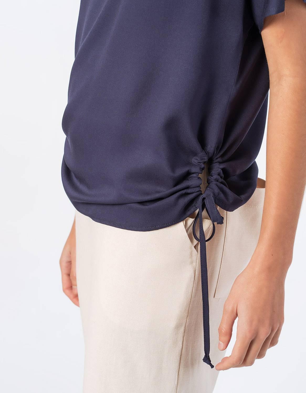 Blusa verano blanca o azul manga corta y cordones ajustable en cintura Malagueta-72710MAL-B