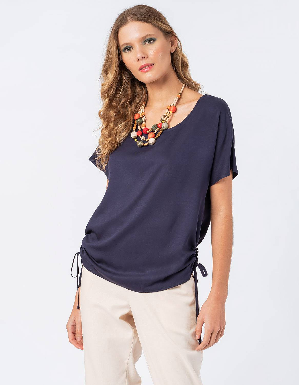 Blusa verano blanca o azul manga corta y cordones ajustable en cintura Malagueta-72710MAL-C