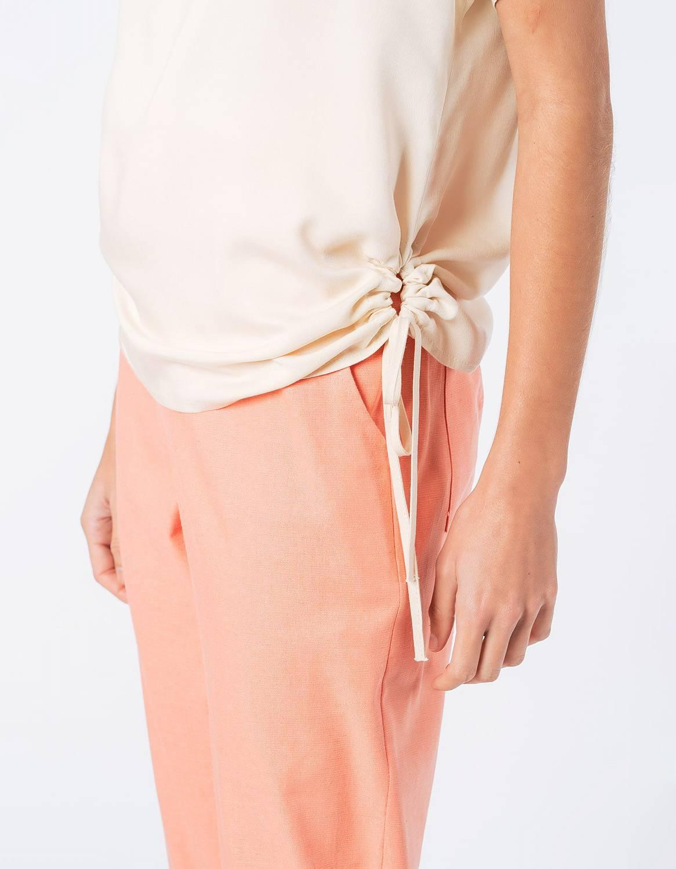 Blusa verano blanca o azul manga corta y cordones ajustable en cintura Malagueta-72710MAL-F