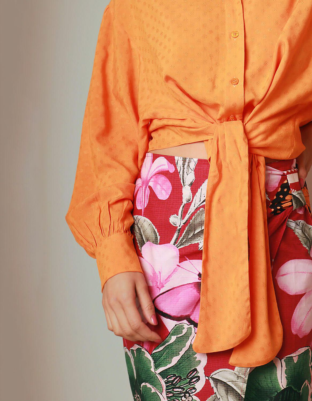 Blusa verano naranja manga larga y botones con anudado en cintura Malagueta-72038MAL-B