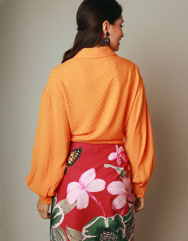 Blusa verano naranja manga larga y botones con anudado en cintura Malagueta-72038MAL-C