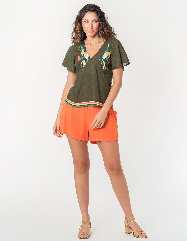 Blusa verano naranja manga larga y botones con anudado en cintura Malagueta-72038MAL-D