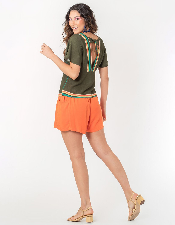 Blusa verano naranja manga larga y botones con anudado en cintura Malagueta-72038MAL-E