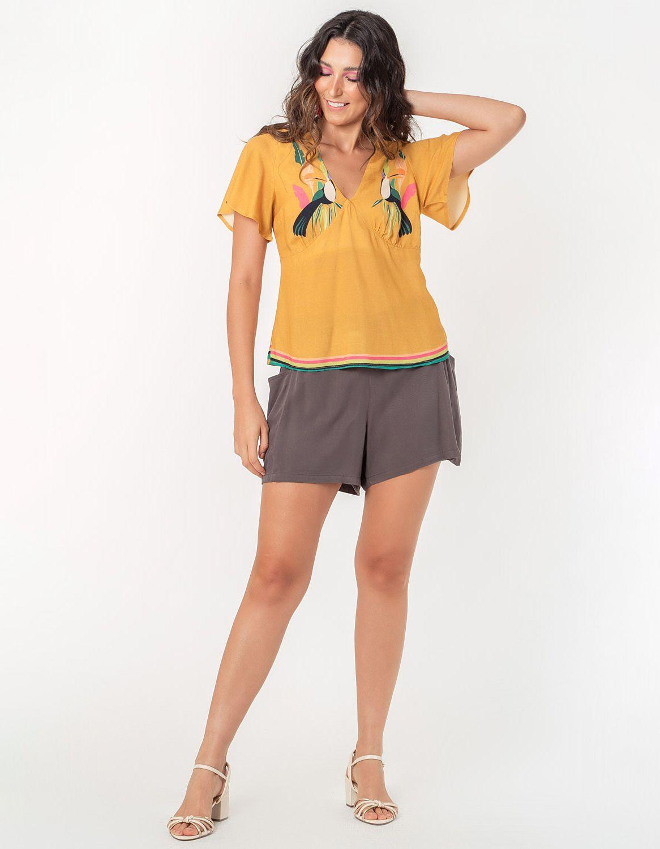 Blusa verano naranja manga larga y botones con anudado en cintura Malagueta-72038MAL-H