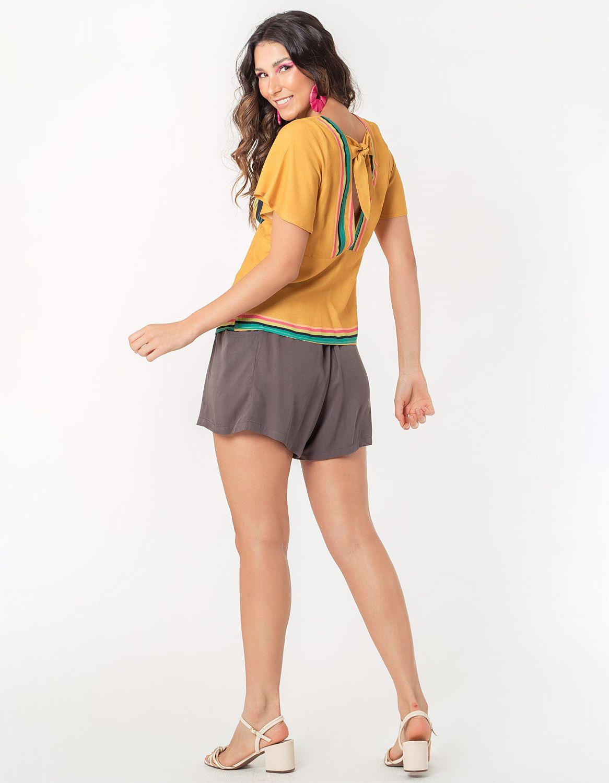 Blusa verano naranja manga larga y botones con anudado en cintura Malagueta-72038MAL-I