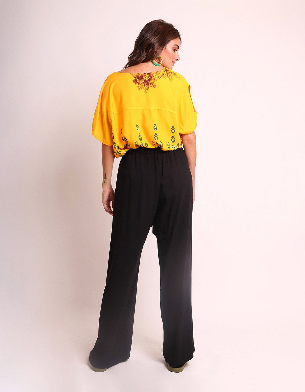 Blusa verano negra o amarilla manga corta y estampa tropical Malagueta-72425MAL-B