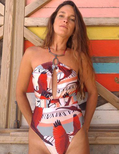 Body Bañador cuello Halter metálico y cinturón Lua Morena-3183831-A