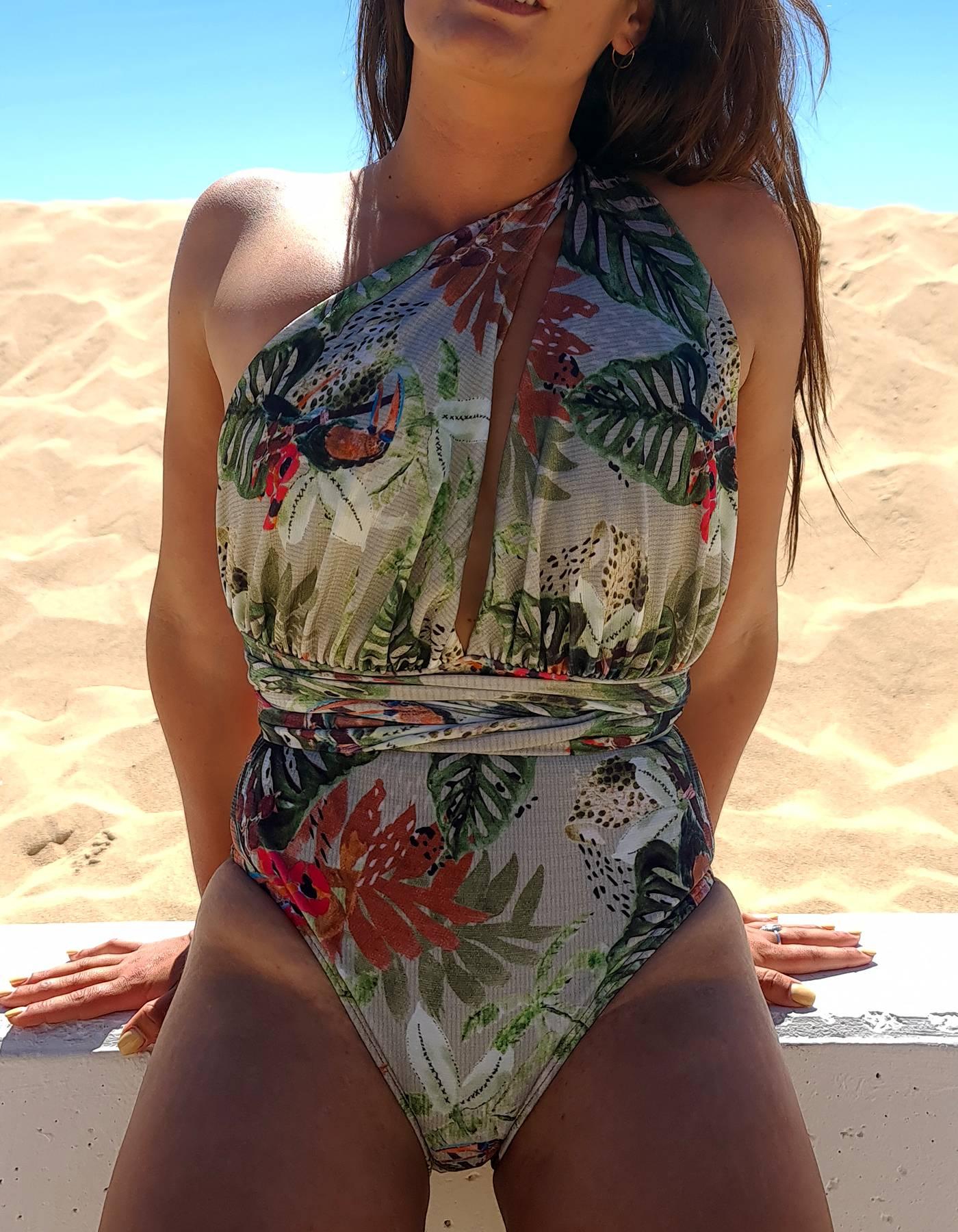 Body Bañador tropical con escote en V y anudado versátil   Lua Morena