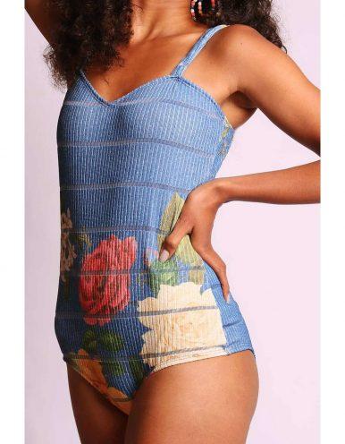Body mujer amarillo o azul estampa floral y tirantes Malagueta-72404MAL-A
