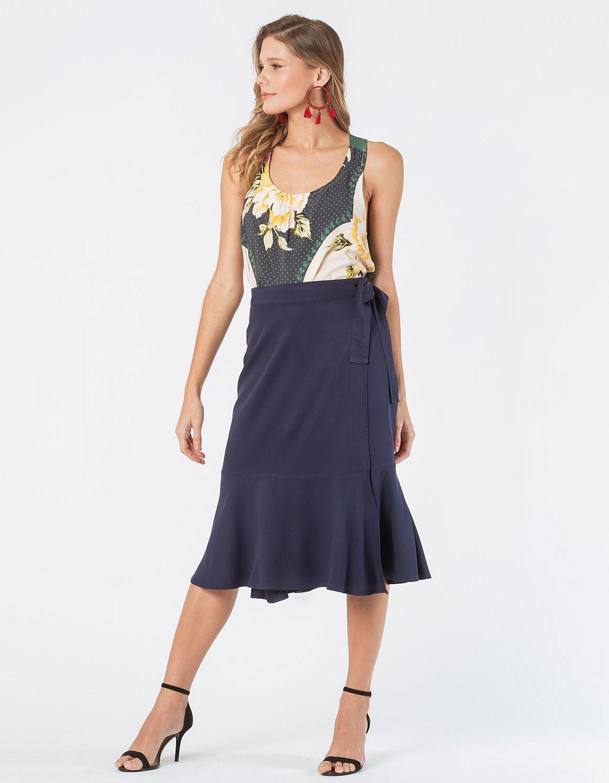 Falda midi blanca o azul oscuro tipo wrap con cordón en cintura ajustable Malagueta-72712MAL-B