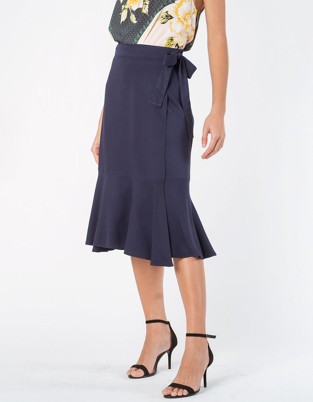 Falda midi blanca o azul oscuro tipo wrap con cordón en cintura ajustable Malagueta-72712MAL-C