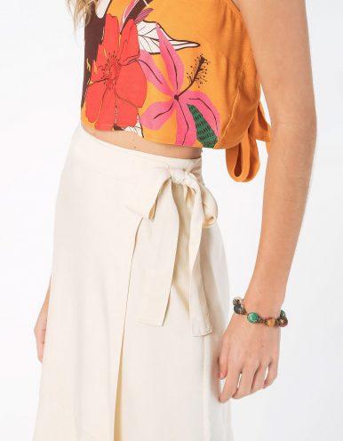 Falda midi blanca o azul oscuro tipo wrap con cordón en cintura ajustable Malagueta-72712MAL-D