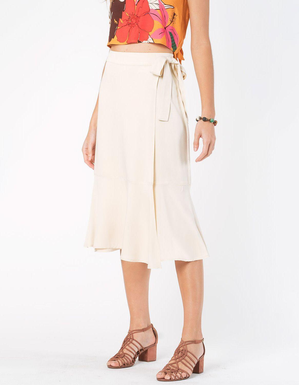 Falda midi blanca o azul oscuro tipo wrap con cordón en cintura ajustable Malagueta-72712MAL-F