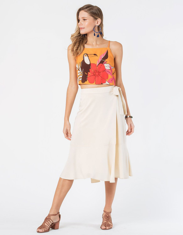 Falda midi blanca o azul oscuro tipo wrap con cordón en cintura ajustable Malagueta-72712MAL-G