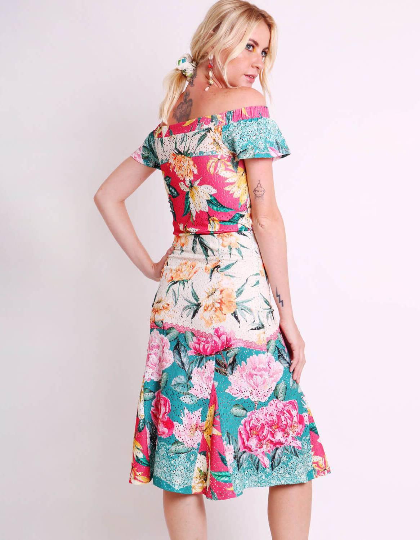 Falda midi blanca o negra tipo laise con estampa floral y forro interior Malagueta-72444MAL-E