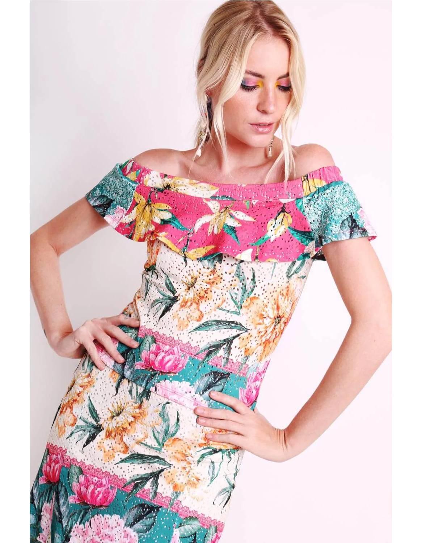 Falda midi blanca o negra tipo laise con estampa floral y forro interior Malagueta-72444MAL-H