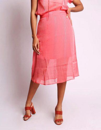 Falda plisada midi rosa o azul oscuro, cintura elástica y forro interior Malagueta-72371MAL-A