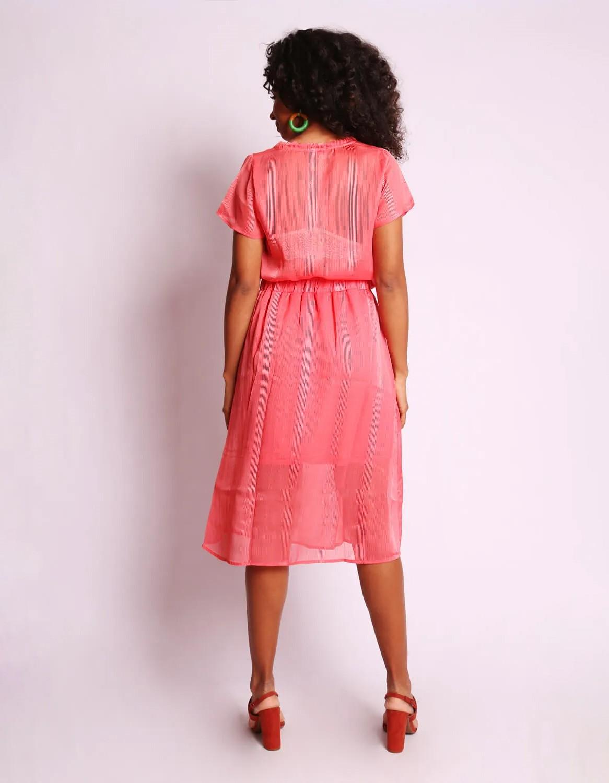Falda plisada midi rosa o azul oscuro, cintura elástica y forro interior Malagueta-72371MAL-B