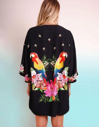 Kimono mujer negro de verano tipo pareo con cinturón y estampa tropical Malagueta-72034MAL-A
