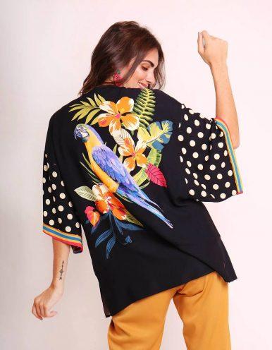 Kimono mujer negro o blanco de verano tipo pareo y estampa tropical Malagueta-72440MAL-B