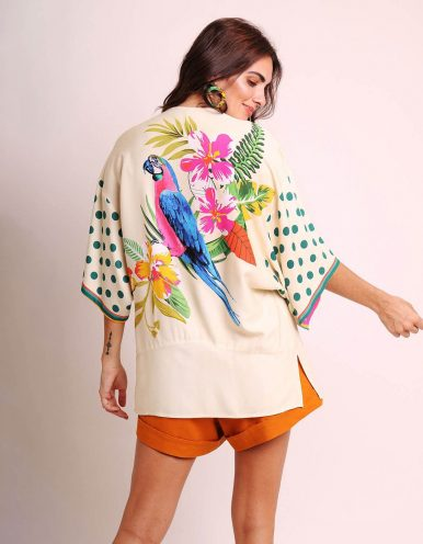Kimono mujer negro o blanco de verano tipo pareo y estampa tropical Malagueta-72440MAL-C