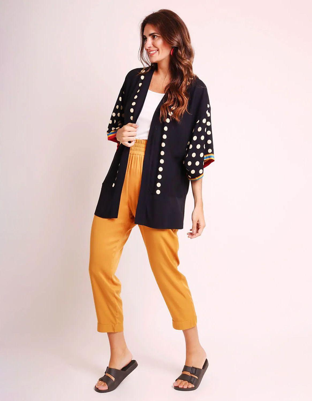 Kimono mujer negro o blanco de verano tipo pareo y estampa tropical Malagueta-72440MAL-F