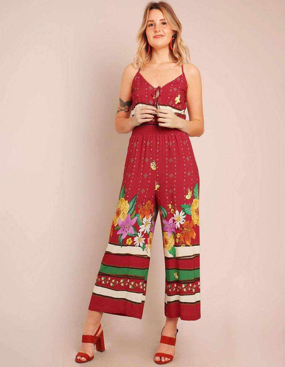 Mono midi rojo tirantes cruzados en espalda y estampa floral Malagueta-72136MAL-A