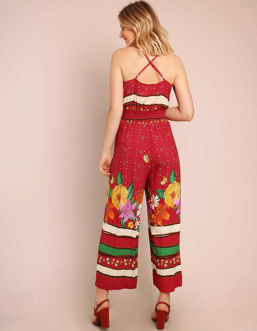 Mono midi rojo tirantes cruzados en espalda y estampa floral Malagueta-72136MAL-B