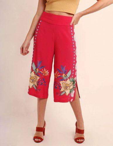 Pantalón Capri verano azul o rojo estampa floral y cremallera lateral ajustable Malagueta-72367MAL-A