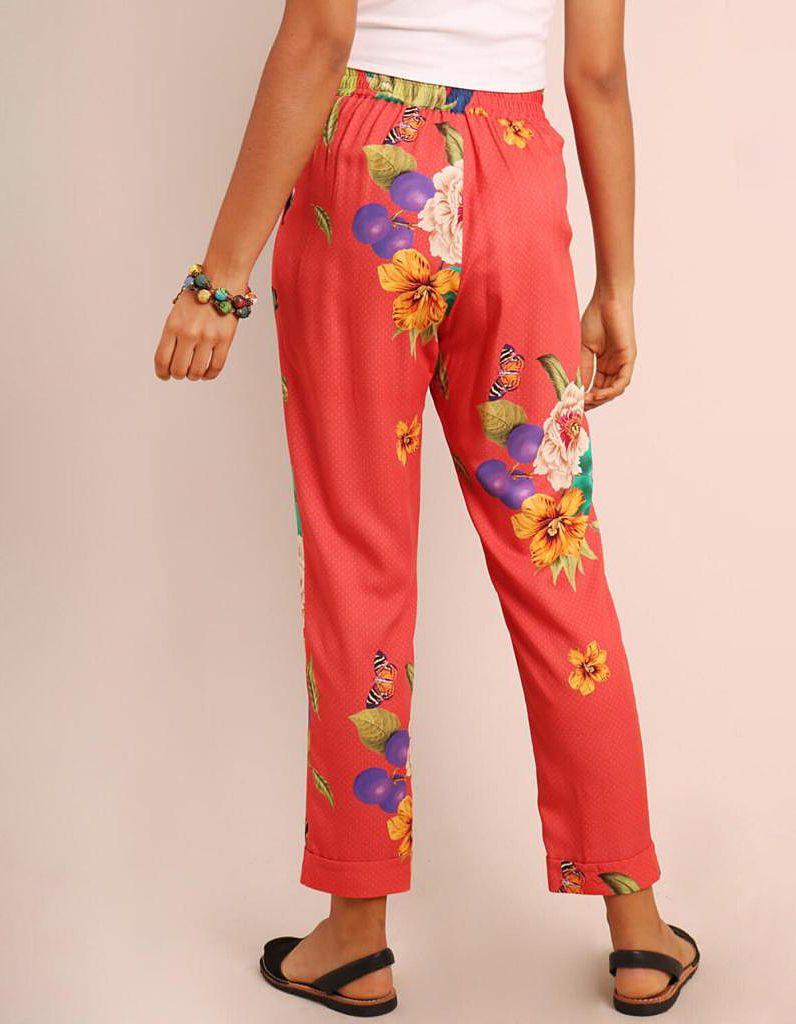 Pantalón Capri verano verde o marrón tierra estampa floral con goma en cintura y bolsillos Malagueta-72131MAL-D