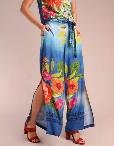 Pantalón largo verano azul o amarillo mostaza con abertura en piernas y cremallera lateral ajustable | Malagueta