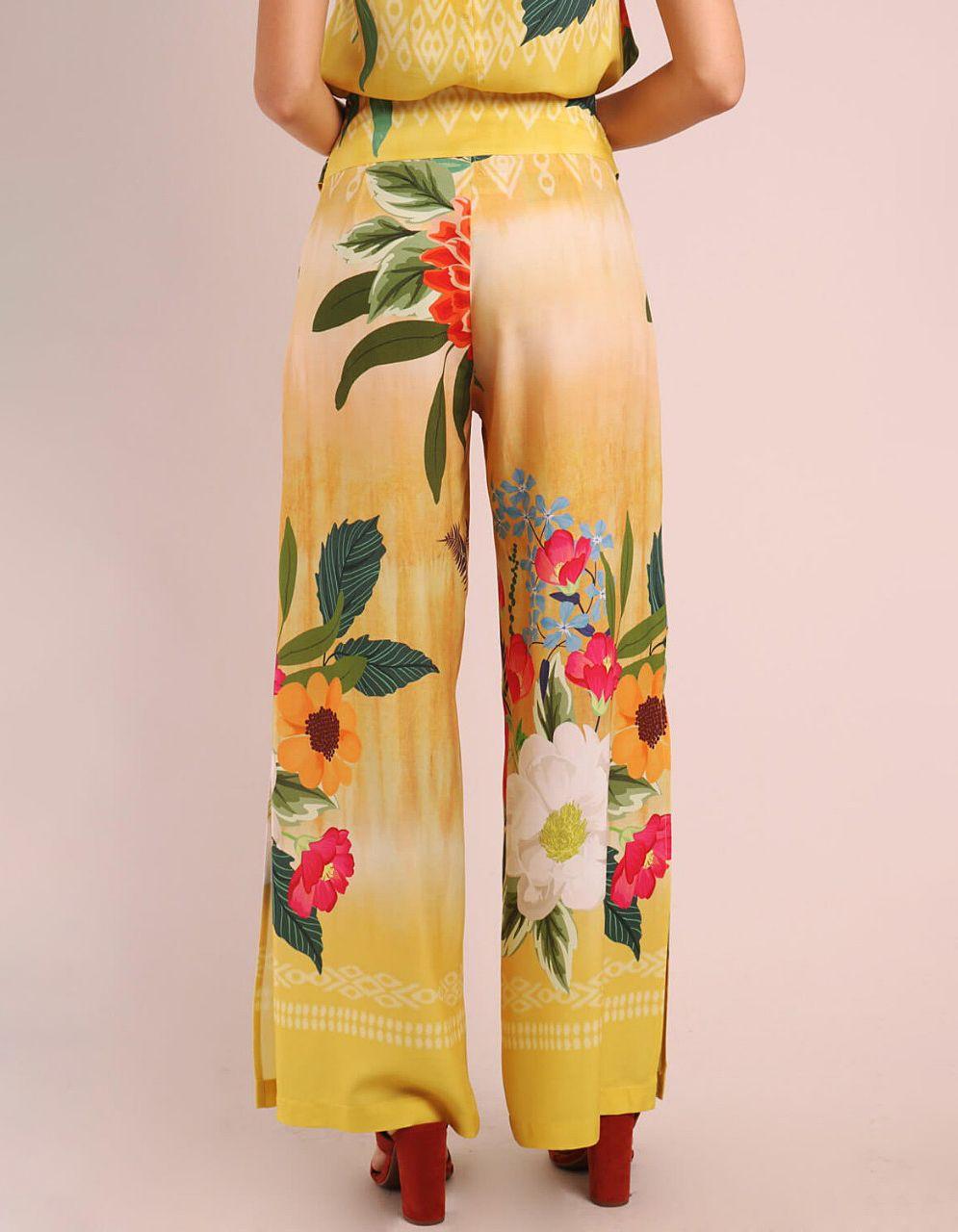 Pantalón largo verano azul o amarillo mostaza con abertura en piernas y cremallera lateral ajustable Malagueta-72084MAL-B