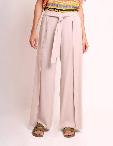 Pantalón largo verano beige, negro o marrón tipo wrap, goma en cintura y cinta ajustable frontal Malagueta-72436MAL-A