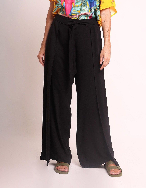 Pantalón largo verano beige, negro o marrón tipo wrap, goma en cintura y cinta ajustable frontal Malagueta-72436MAL-D