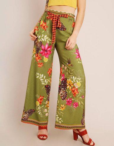 Pantalón largo verano blanco o verde con bolsillo, cinturón ajustable y cremallera lateral ajustable Malagueta-72149MAL-A