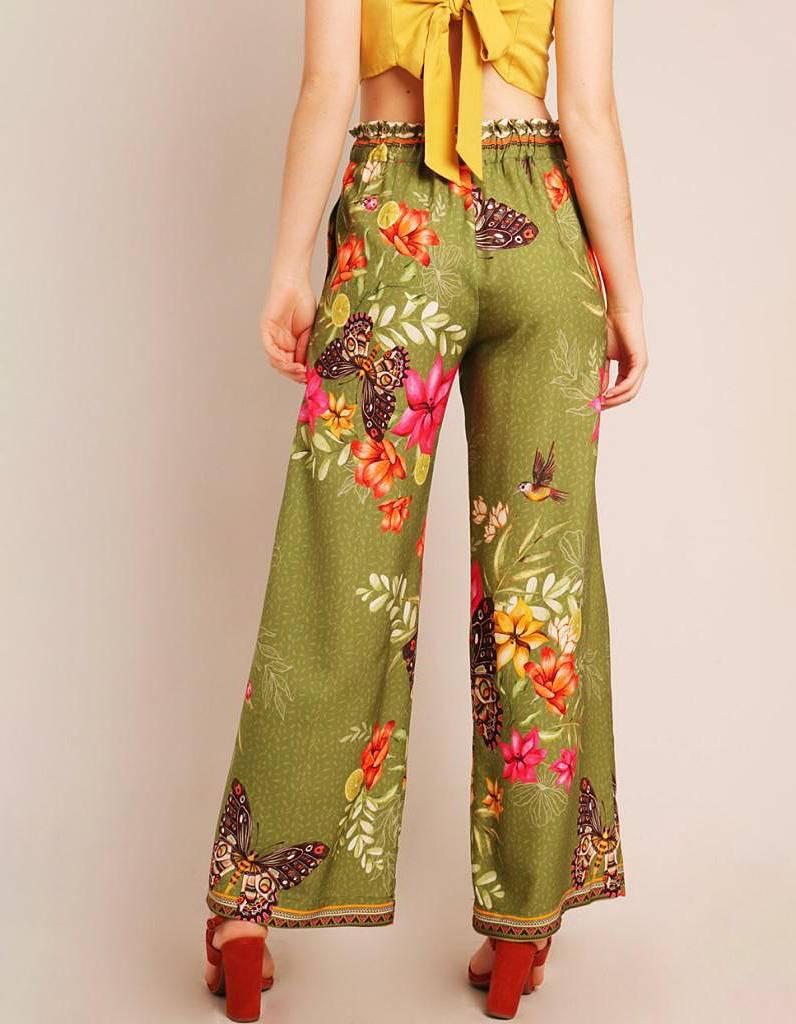 Pantalón largo verano blanco o verde con bolsillo, cinturón ajustable y cremallera lateral ajustable Malagueta-72149MAL-B