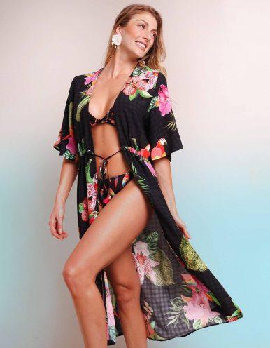 Pareo negro estampado floral y anudado con detalles en cintura Malagueta-72037MAL-B