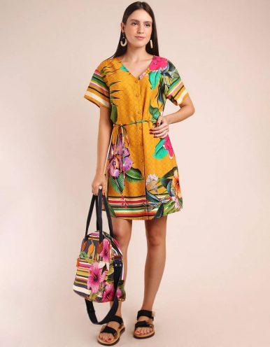 Vestido verano corto amarillo con botones y manga corta Malagueta-72106MAL