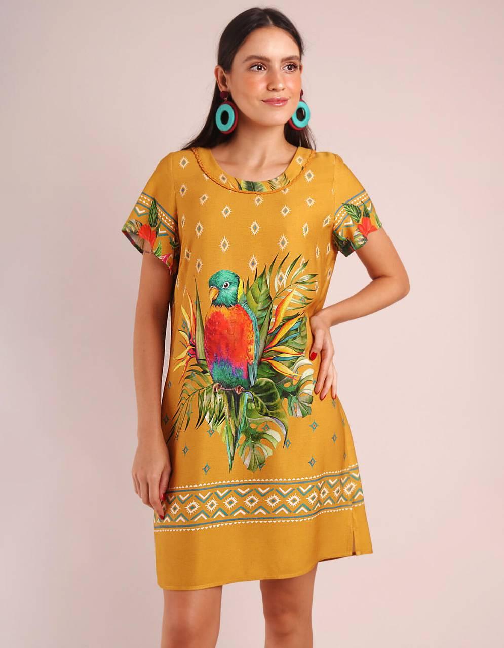 Vestido verano corto amarillo estampado manga corta y escote redondo Malagueta-72093MAL