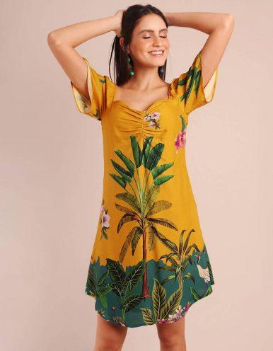 Vestido verano corto amarillo manga corta y escote corazón Malagueta-72091MAL