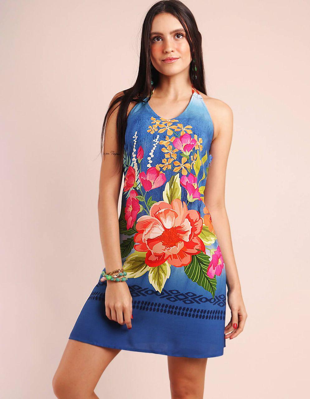 Vestido verano corto azul o amarillo con tirantes y cuello halter Malagueta-72085MAL-A