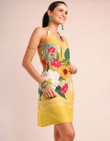 Vestido verano corto azul o amarillo con tirantes y cuello halter Malagueta-72085MAL-B