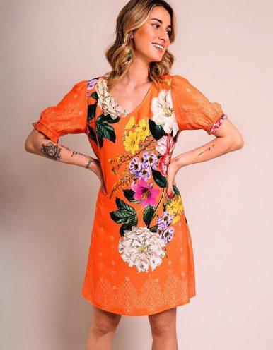 Vestido verano corto azul o naranja con escote en V y estampa floral Malagueta-72256MAL-A