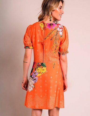 Vestido verano corto azul o naranja con escote en V y estampa floral Malagueta-72256MAL-B