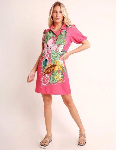 Vestido verano corto azul o rosa con escote en V abotonado Malagueta-72345MAL-A