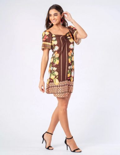 Vestido verano corto blanco o marrón hombros caídos Malagueta-720911MAL-A