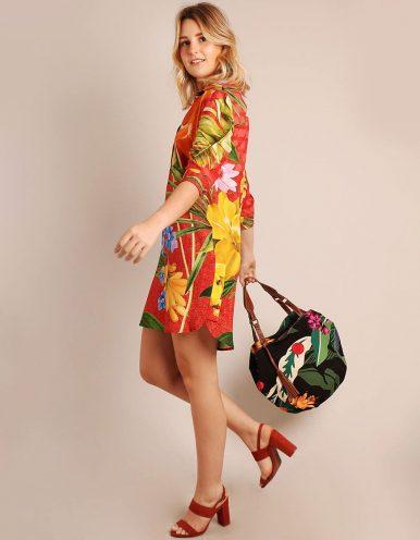 Vestido verano corto marrón claro y escote en V con manga tres cuartos Malagueta-71930MAL-A