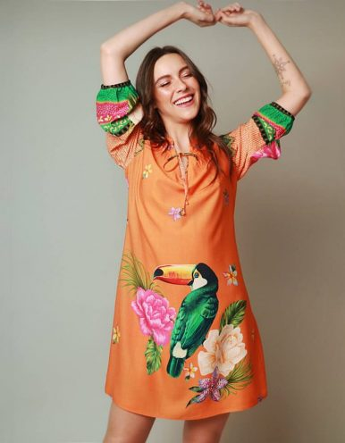 Vestido verano corto naranja manga tres cuartos y estampa floral Malagueta-72065MAL