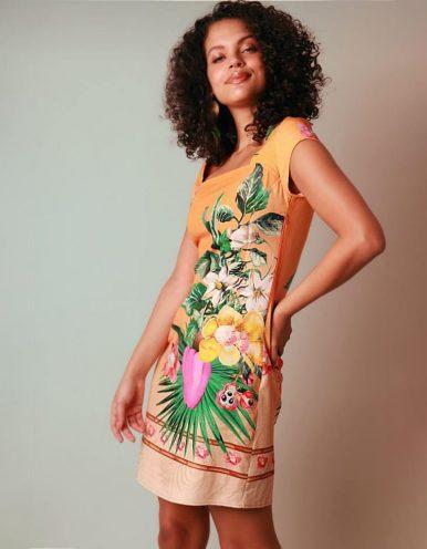 Vestido verano corto naranja y escote cuadrado Malagueta-72083MAL